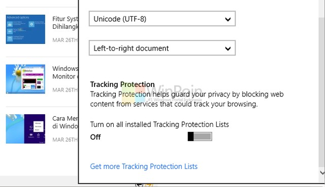 IE 11 Windows Blue dilengkapi Download List dan Tracking Protection