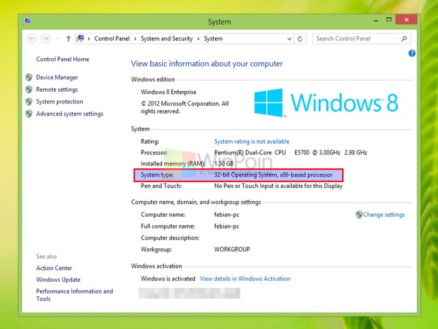 system windows 8
