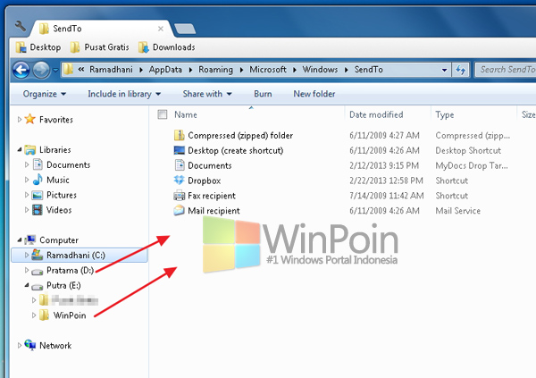 Cara Cepat Menambah Opsi Baru Pada Menu Send To di Windows 7
