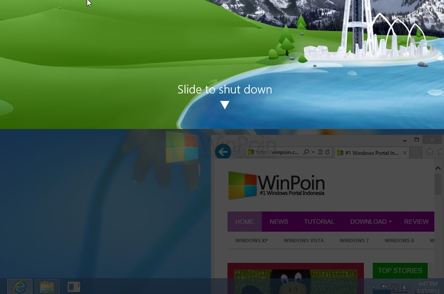 Windows Blue Dilengkapi Fitur Slide to ShutDown