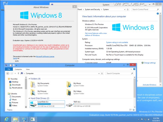 Screenshot Windows 8.1 (Blue) Build 9379 Telah Beredar