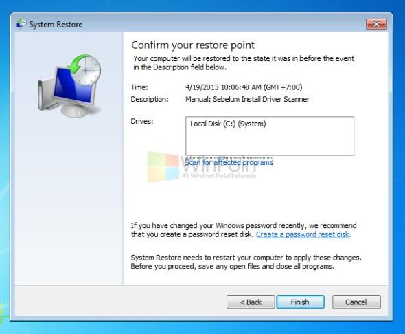 Cara Restore Windows 7 dengan System Restore