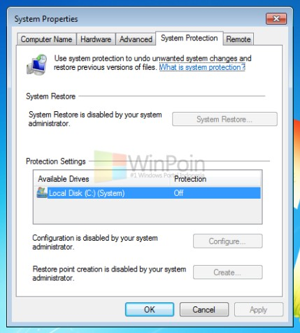menu konfigurasi System Restore di Windows kamu tidak aktif