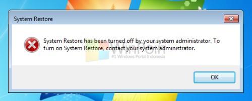 System Restore tidak aktif karena Group Policy Editor