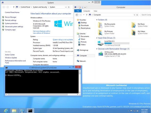 Screenshot Windows 8.1 (Blue) Build 9374 Beredar Luas