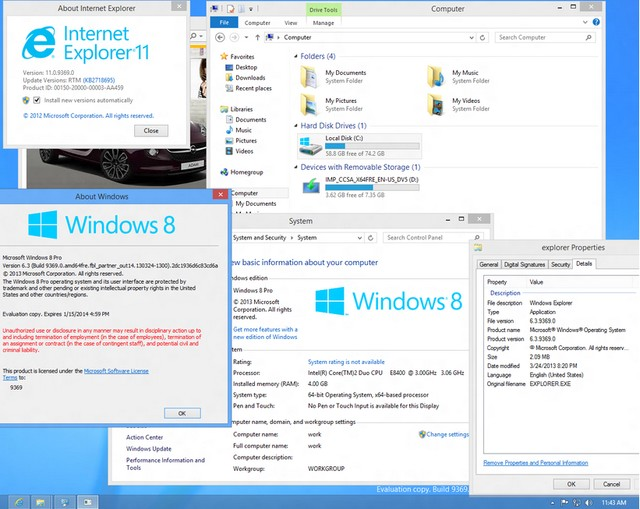 Screenshot Windows Blue (Windows 8.1) Build 9369 Muncul ke Public