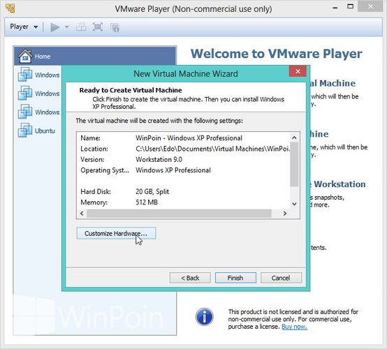 Cara Instal Windows XP di VMware Player