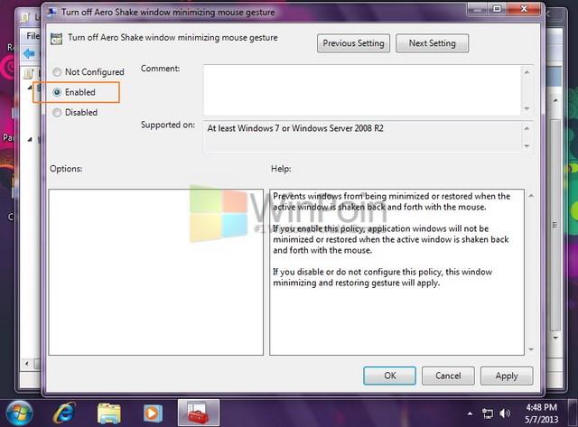 Cara Mematikan dan Menghidupkan Aero Shake di Windows 7
