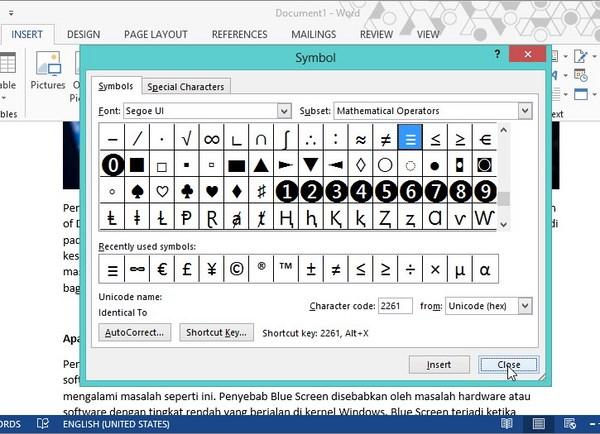 Cara Menggunakan atau Memasukan Simbol di Word 2013