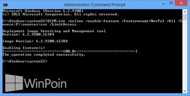 Cara Install .NET Framework 3.5 di Windows 8 secara Offline dengan Command Prompt
