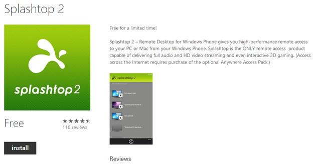 Splashtop 2 untuk Windows Phone 8 - Digratiskan hingga 31 Agustus 2013