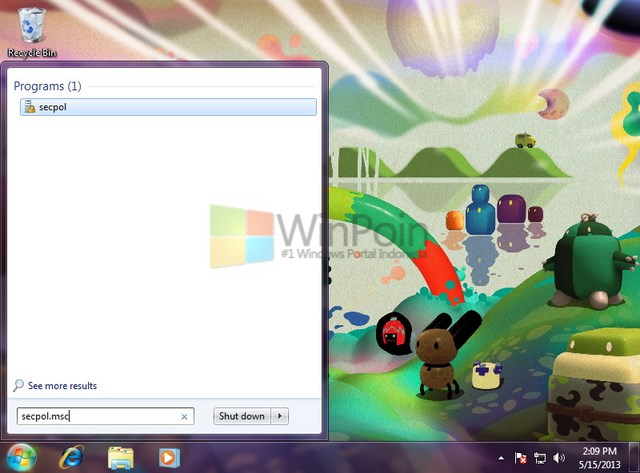 Cara Membuka Local Security Policy Windows 7