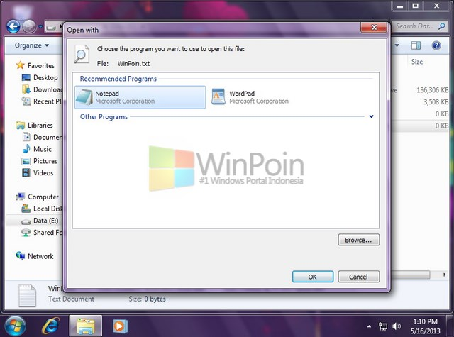 "Cara Mengaktifkan dan Mematikan ""Always use selected program"" Pada Open With di Windows 7"