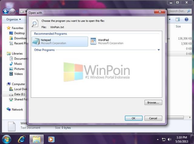 "Cara Mengaktifkan dan Mematikan ""Always use selected program"" Pada Open With di Windows 7"