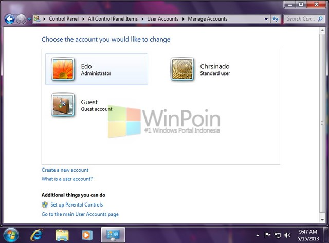 Cara Mengganti Tipe User Account di Windows 7