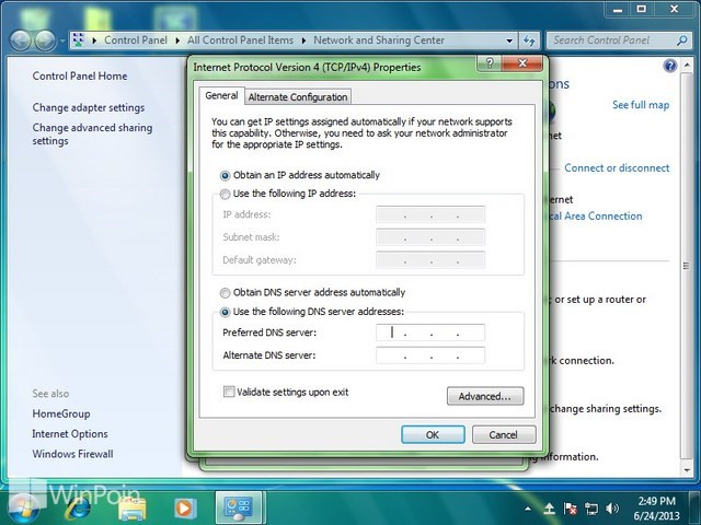 Cara Ganti DNS Windows 7 Dengan Google DNS atau OpenDNS