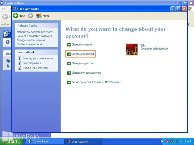 Cara Membuat Password Komputer Windows XP