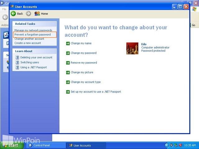 Cara Membuat Reset Password Disk di Windows XP