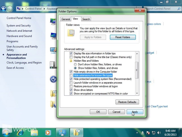 Cara Menampilkan File Ekstensi di Windows Explorer pada Windows 7