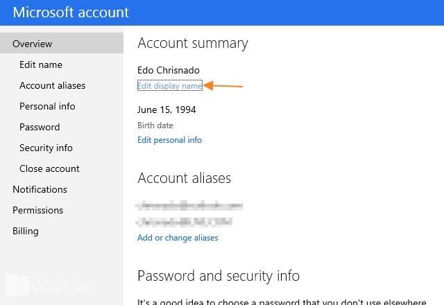 ... Edit display name untuk mengganti nama akun Microsoft di Windows 8