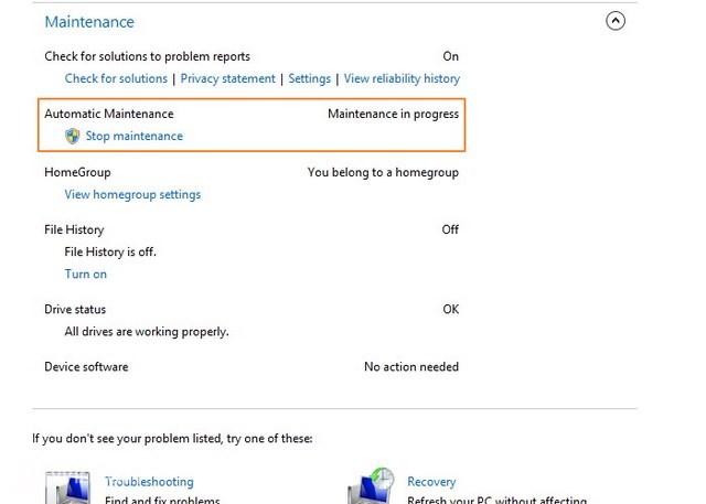Cara Menjalankan atau Menghentikan Automatic Maintenance Secara Manual Windows 8