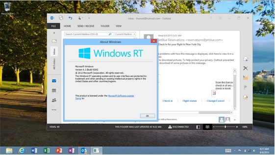 Windows RT 8.1 Bakal Dilengkapi Outlook 2013 Client