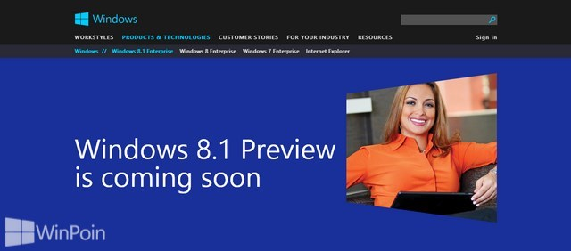 Halaman Website untuk Windows 8.1 Preview sudah Dirilis