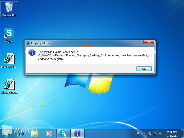 Cara Tidak Bisa Mengganti Background Desktop di Windows 7