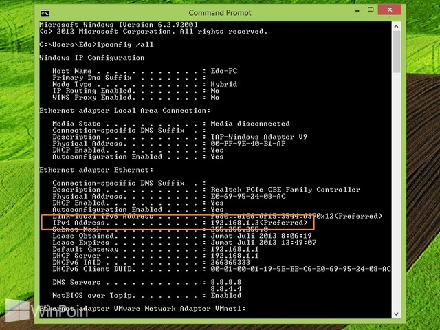 Cara Mengetahui IP Address di Windows 8
