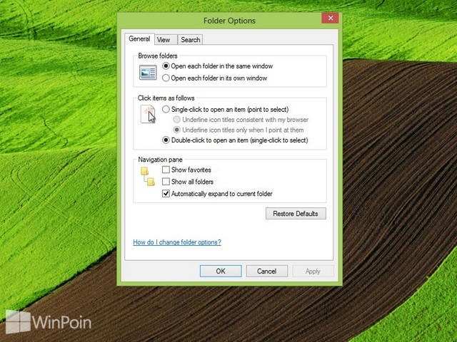 Cara Membuka Folder Options di Windows 8