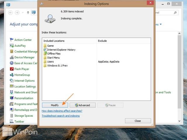 Cara Menambahkan atau Mengurangi Folder Index di Windows 8