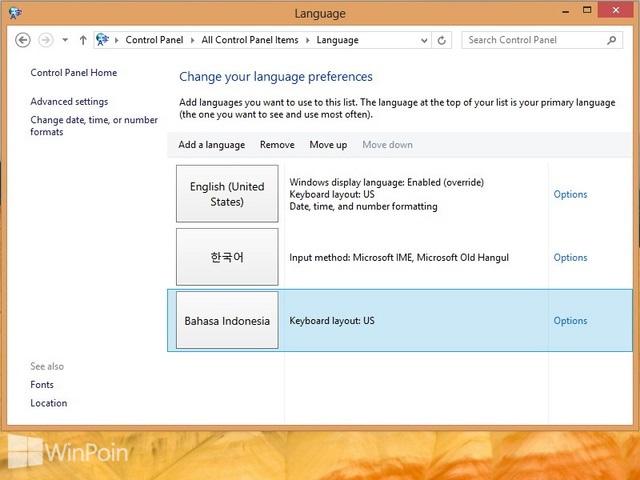 Cara Menambah dan Menghapus Language Packs di Windows 8