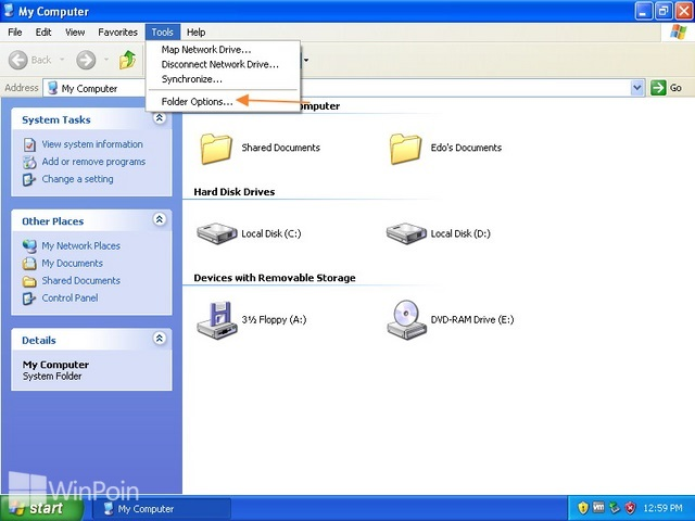 Cara Menampilkan File Ekstensi di Windows Explorer pada Windows XP