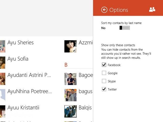 Cara Menampilkan atau Menyembunyikan Kontak dari Aplikasi People Windows 8