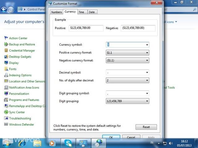 Cara Mengganti Currency Format di Windows 7
