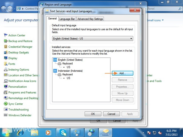 Cara Menambahkan Atau Menghapus Keyboard Input Language Windows 7