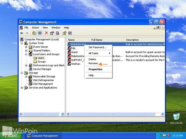 Cara Mengganti Nama Administrator di Windows XP