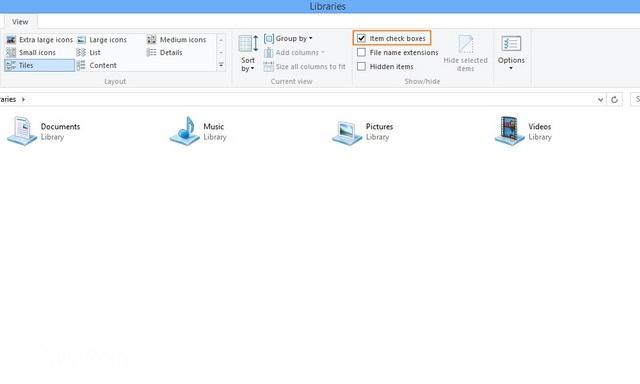 Cara Menghilangkan Check Box Select Item di Windows 8