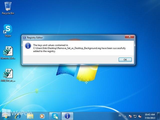 """Cara Menghapus """"Set as desktop background"""" Dari Klik Kanan di Windows 7"""