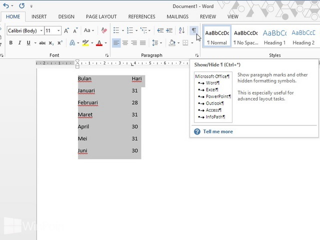 Cara Mengubah Text Menjadi Tabel dan Sebaliknya di Word 2013