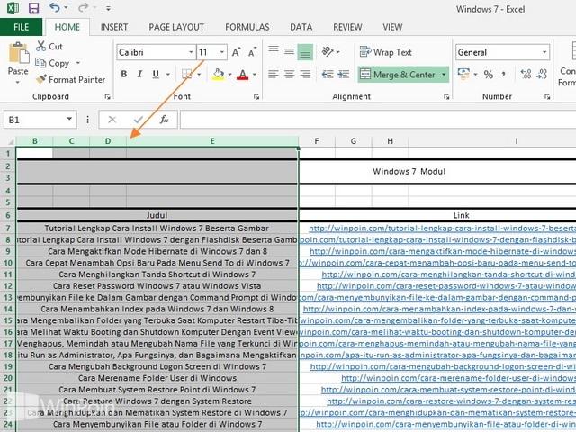 Cara Menyembunyikan Baris dan Kolom di Excel 2013