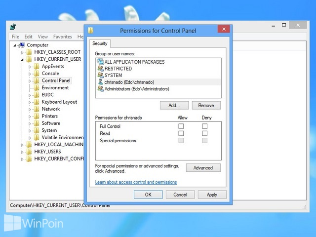 Cara Merubah Permissions Pada Registry Windows 8