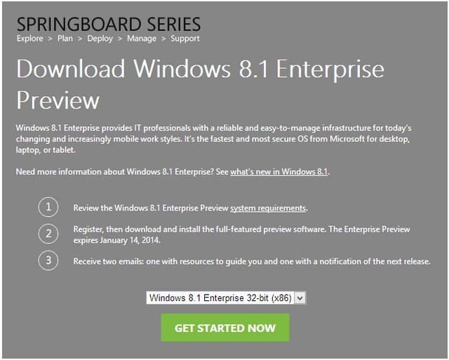 HOT: Download Windows 8.1 Enterprise Preview