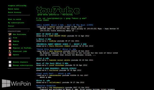 Coba Ini: YouTube Versi UNIX!