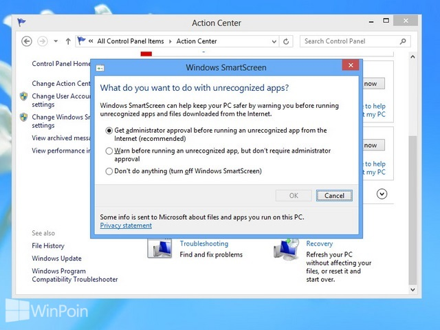 Cara Mematikan Windows SmartScreen di Windows 8