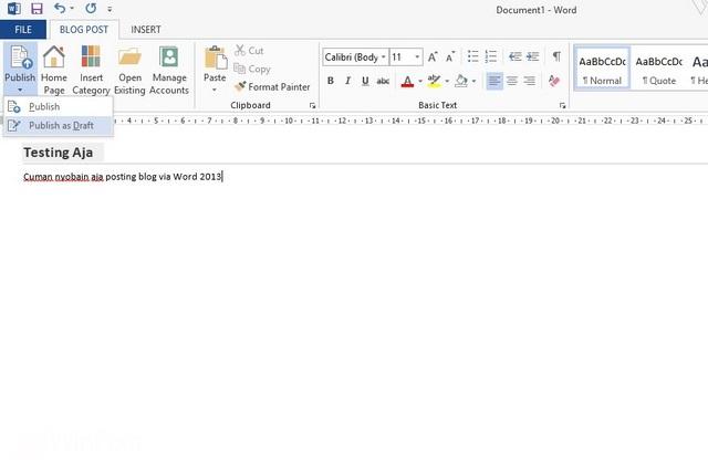 Cara Membuat Post Blog dengan Microsoft Word 2013