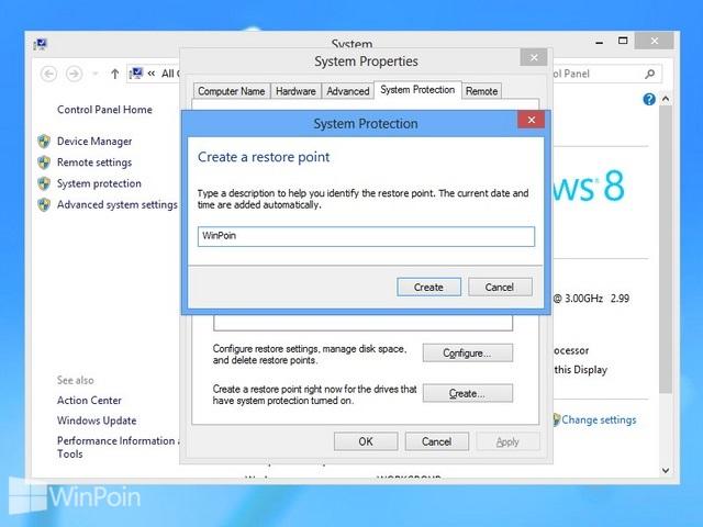 Cara Membuat System Restore di Windows 8