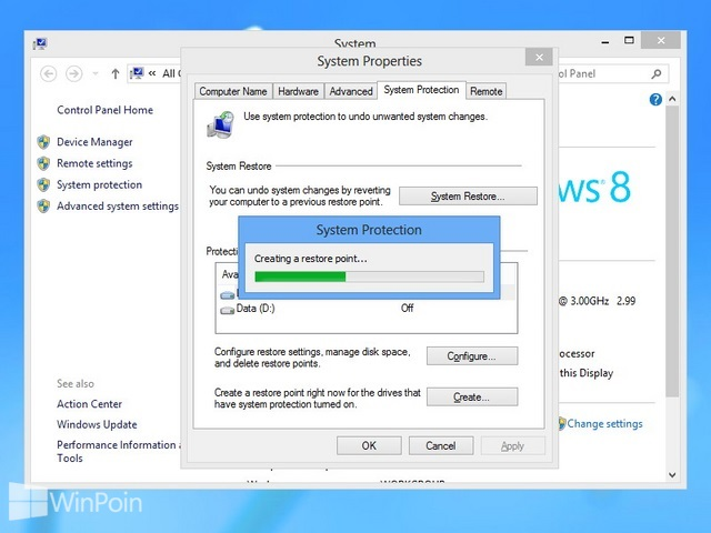 Cara Membuat System Restore di Windows 8
