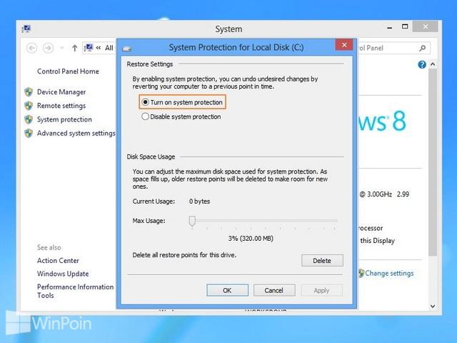 Cara Mengaktifkan dan Mematikan System Restore Windows 8