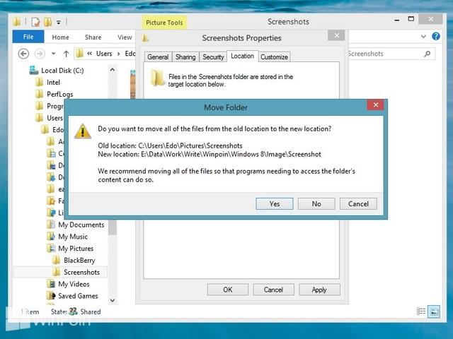 Cara Mengganti Default Penyimpanan Folder Screenshot Windows 8